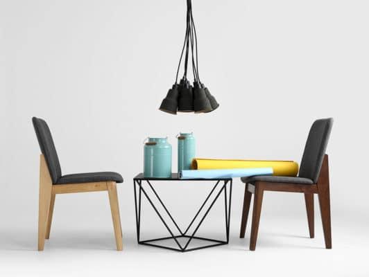 Origami schwarzer Couchtisch 60x60 mit Sessel