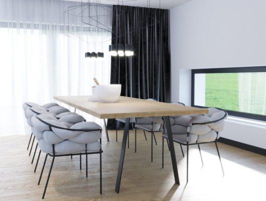 Tischgestell Atlas mit einem schönen Esstisch aus Holz und Stühlen