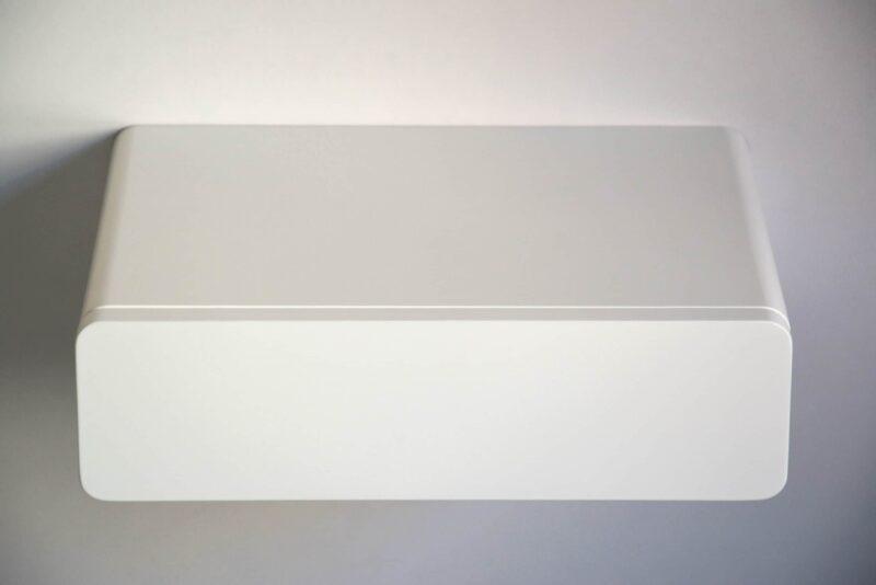Runder schwebender Nachttisch mit weißer Fronte