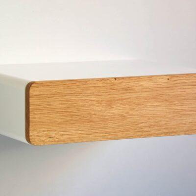 Runder schwebender Nachttisch mit Front aus Eiche