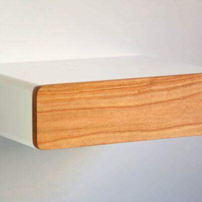 Runder schwebender Nachttisch mit Fronte aus Kirschbaum