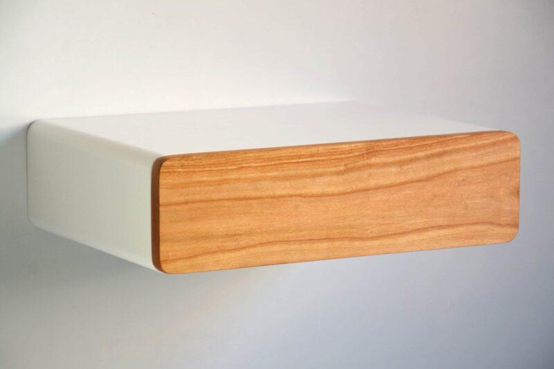 Runder schwebender Nachttisch mit Front aus Kirschbaum