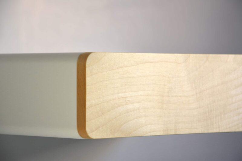 Runder schwebender Nachttisch mit Front aus Ahorn