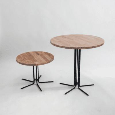 Tischgestell CIRC schwarz mit Platte Eiche von oben