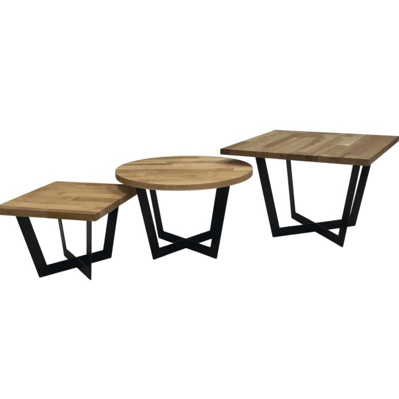 Tischgestell Salto schwarz mit Eichenplatte in 3 Größen (klein, mittel, groß)