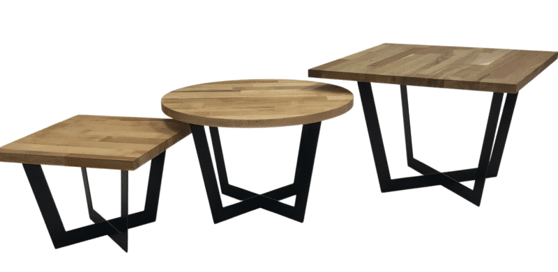 Tischgestell Salto schwarz mit Eichenplatte in 3 Größen (klein, mittel, groß) schmal