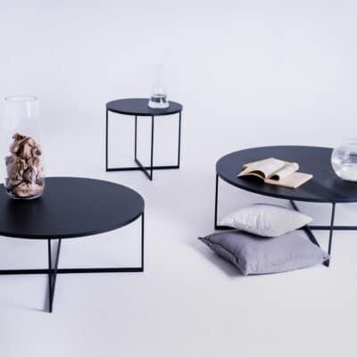 Couchtisch IXO schwarz in Set rund